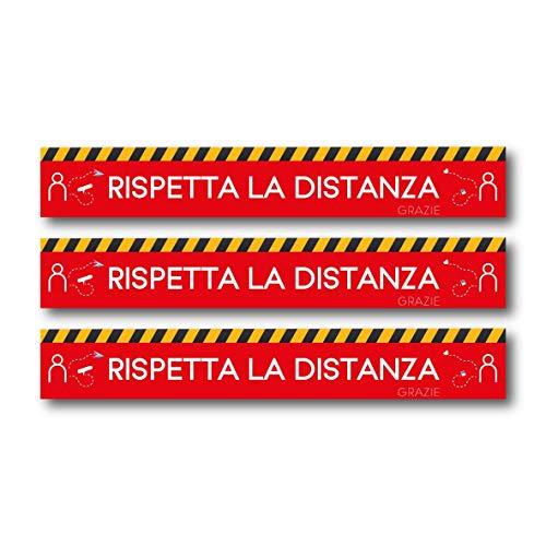 Artigiani Digitali set di adesivi calpestabili rispetta la distanza di sicurezza da pavimento e da terra per interno ed esterno segnaletica certificato per attività commerciali e negozi