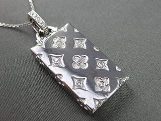 LARGE .30CT DIAMOND 14KT WHITE GOLD 3D FLORAL PURSE BAG PENDANT #19086