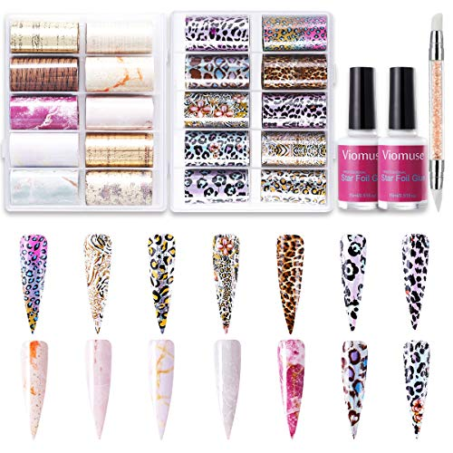 Viomuse Nail Art Foil Transfer Stickers Paper Kit with 2pcs 15ml Nail Foil Glue Gel and Press Pen...