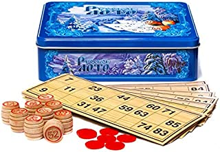 Russian Winter Russian Bingo Game Set in a Tin Box Russian Lotto