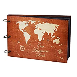 PartyKindom Our Adventure Book Wooden Scrapbook Photo Album Book for Anniversary, Wedding Gift, Travelling, Box Package…