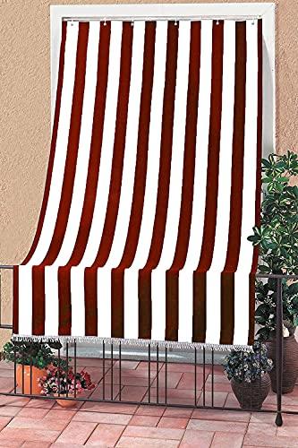 my house Tenda da Sole con Kit Ganci e Anelli in Tessuto Resistente da Esterno o Balcone Lavabile Colore Rosso e Bianco Poliestere 100% Misura 150x250