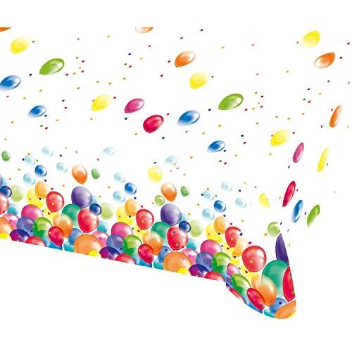 Amscan 9900324 - Tischdecke Luftballons, Größe 120 x 180 cm, Kunststoff, Geburtstag, Kinderparty, Mottoparty, Tischdekoration, Kindergarten