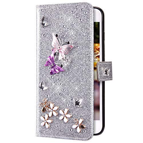 Uposao Compatibile con Samsung Galaxy S6 Edge 3D Strass Disegni Custodia a Portafoglio Slim Glitter Brillantini PU Pelle Caso Flip Supporto Cover,Argento