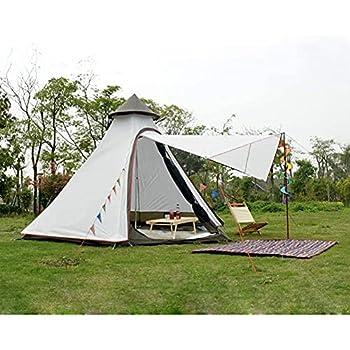 JTYX Tente Indienne Tipi Extérieure Étanche Double Couche Camping Tour Tente Famille Camping Tente Yourte Tipi Tente pour Randonnée en Plein Air 3-4 Personne