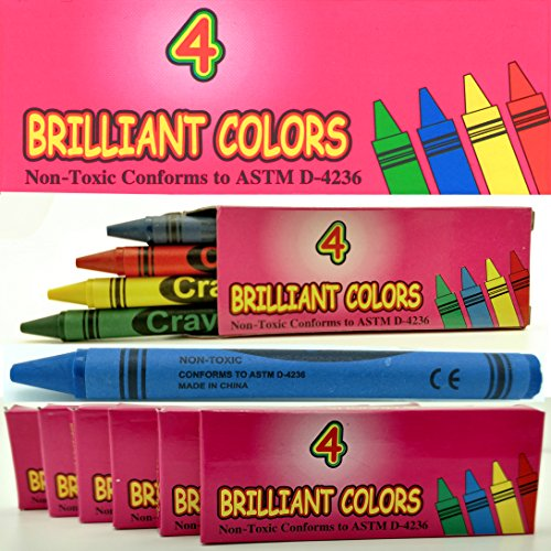 Impex 4 Pack Brilliant Colors Crayons (Blue, Green, Red, & Yellow) Bulk Lot Wholesale Set of 150 Packs