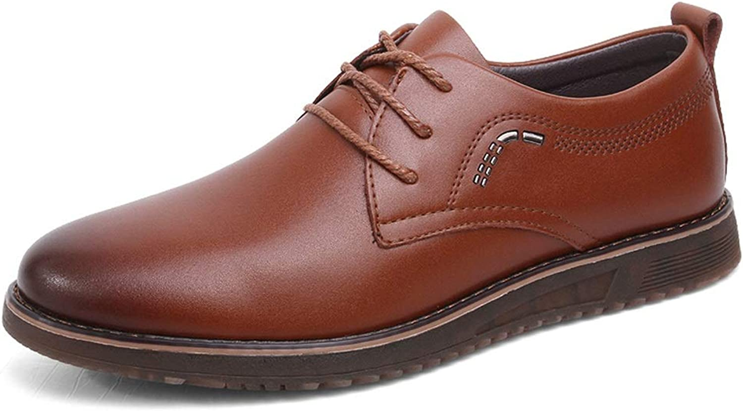 Easy Go Shopping Business Casual Oxford shoes For Men Comfortable Genuine Leather Dress Loafers Anti-slip Flat Slip-on Lace Up Round Toe shoes Cricket shoes (color   Brown, Size   6 UK)