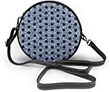 BAODANLA Bolso redondo mujer Navy Polka Dots Women Soft Leather Round Shoulder Bag Zipper Circle Purses Sling Bag