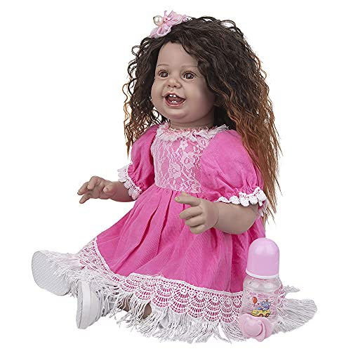 YIHANGG 27 Inch PP Cotton Body Reborn Baby Doll Smile Face Curls Hair Girl Reborn Toddlers Doll 68Cm For Kid Birthday Present