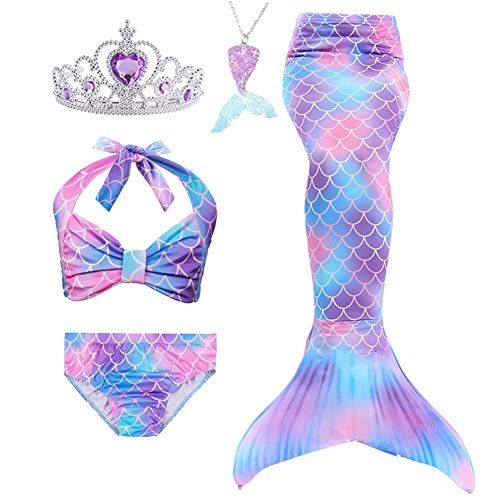 5Pcs Girls Swimsuit Mermaid Tails for Swimming Princess Bikini Bathing Suit Set Can Add Monofin for...