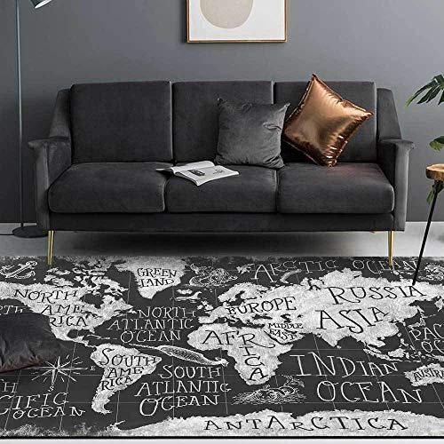 Moderno Alfombra Antideslizantes Pelo Corto Rug Mundo inglés Abstracto Negro y Gris Moderno para el Dormitorio, Comedor, guardería, Pasillo, Cocina, Corredor, área, Alfombra 80x120cm