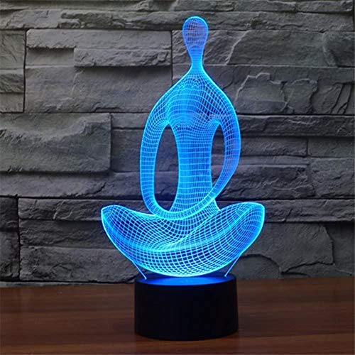 3D lámpara de mesa noche luz yoga meditación 3D luz lámpara 16 colores cambiar con remoto vacaciones y cumpleaños regalos ideas para niños