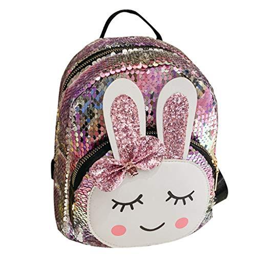 Kleine Mädchen Reversible Pailletten Rucksack, Kids Fashion Pailletten Schultasche Daypack für Kleinkind Mädchen Kindergarten Kindergarten - Lovely Rabbit