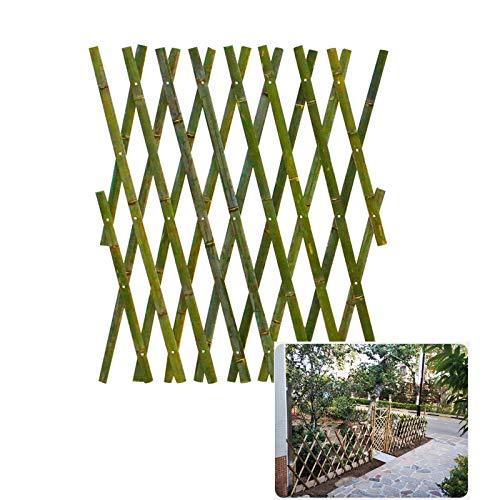 LJIANW Valla De Madera, Espesar Bambú Valla Cuadrícula Puesto De Flores Escalada Telescópica Patio Decoración De Pared por Huerta Jardín Plataforma Balcón (Color : Green, Size : 100x180cm)