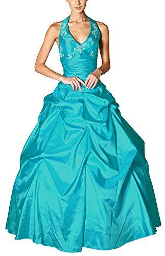 Romantic-Fashion Damen Ballkleid Abendkleid Brautkleid Lang Modell E452 A-Linie Perlen Pailletten DE Türkis 46