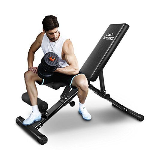 FLYBIRD Adjustable Bench,Utility Weight Bench for Full Body Workout- Multi-Purpose Foldable Incline/Decline Benchs (Renewed)