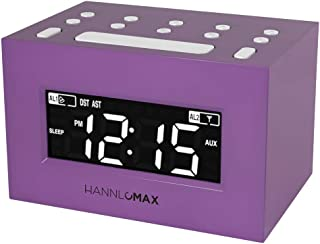 HANNLOMAX HX-111CR Alarm Clock Radio, PLL AM/FM Radio, Dual Alarm, White LED Display, Auto DST, Aux-in Jack. (Purple)
