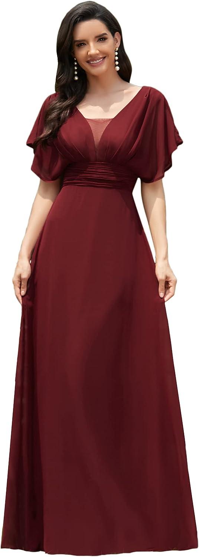 1900 -1910s Edwardian Fashion, Clothing & Costumes Ever-Pretty Womens Elegant V-Neck Formal Evening Dresses 7851  AT vintagedancer.com