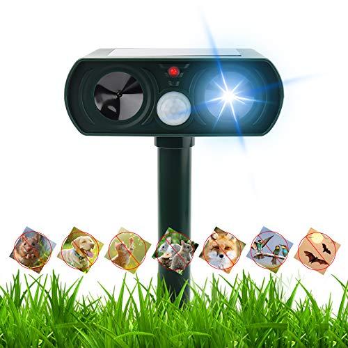 Ultraschall Abwehr Katzenschreck, Ultraschall Vertreiber mit Bewegungsmelder und Ultraschall Blitz, Tiervertreiber Ultraschall Solar für Mäuse, Hundeschreck Marderschreck, IPX44 Wasserdichter