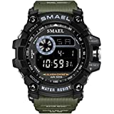 Men Large Dial Digital Sport Watch Military Watch LED Backlight Waterproof Electronic Watch for Men (Army Green)