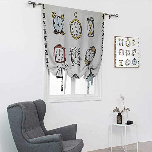 GugeABC Cortinas para atar relojes, una colección de relojes de estilo vintage y relojes garabateados dibujados a mano para ventana, blanco y negro, 76,2 x 162,6 cm