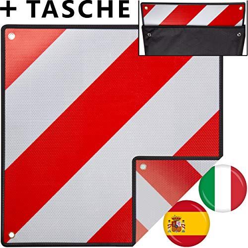 MATADORES Premium 2in1 Warntafel für Italien UND Spanien inkl. GRATIS Tasche   Aluminium, 50x50cm, reflektierend   Für Fahrradträger/Heckträger