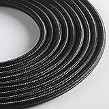 Klartext - Cable textil redondo para iluminación (3 x 0,75 mm, 3 m), color negro Máxima seguridad a prueba de golpes.