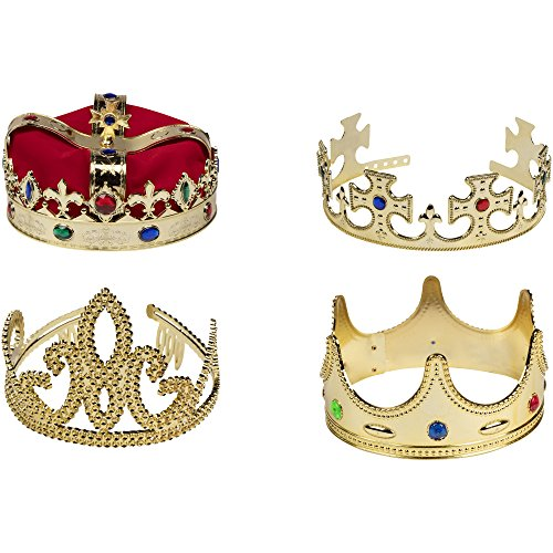Check Out This Gold Crown - 4-Pack Royal King and Queen Jeweled Costume Accessories, Party Hat