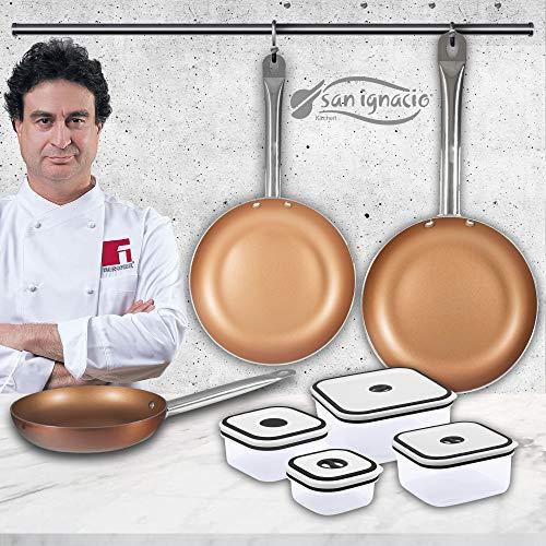 San Ignacio Copper Plus recipientes herméticos, Set 3 sartenes + 4 fiambreras