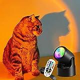 Homlok redonda Sunset Lamp, USB RGB 16 colores de luz LED Sunset Projection Lamp 180 ° giratorio luz ambiente puesta de sol lámpara decoración para dormitorio, salón, cafetería con mando a distancia