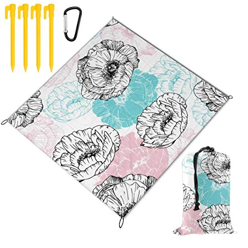 Best Bargain Hucuery Picnic Blanket 59 X 57 in Floral Seamless Pattern Foldable Waterproof Extra Lar...