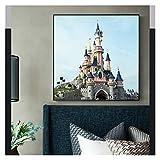 CCZWVH Lienzo Pintura Dormir Beatuty Castle Disneyland Paris París Arte para la Sala de Estar Decoración Parque de Atracciones Cartel de la Sala de niños Cuadros 20X20 Inch Sin Marco