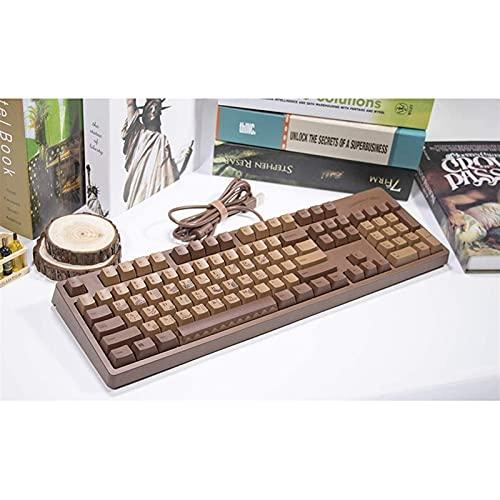 F-Mingnian-rsg Partes del Teclado keycap 104 Teclas Ajazz Chocolate Cubes Teclado mecánico con impresión por sublimación térmica PBT (Cuerpo del Eje: BlackSwitch)