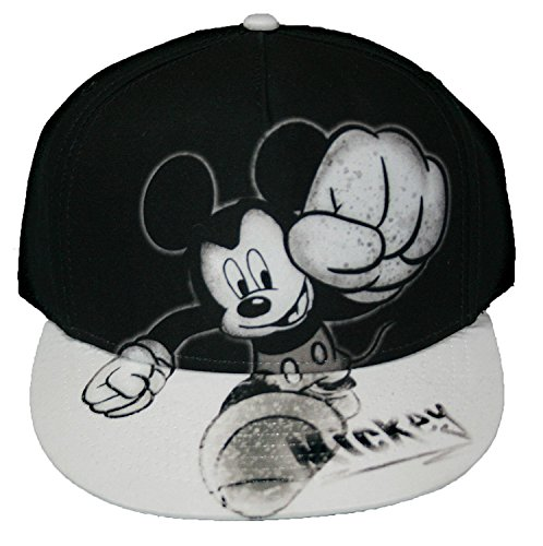Disney Mickey Mouse Smash Flat Bill Mens' Baseball Hat, Gray, One Size