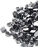 GASPRO 10-Pound Fire Glass – 1/2 Inch Reflective Tempered Fire Pit Glass Rocks and Fireplace Glass, Interstellar Black Reflective