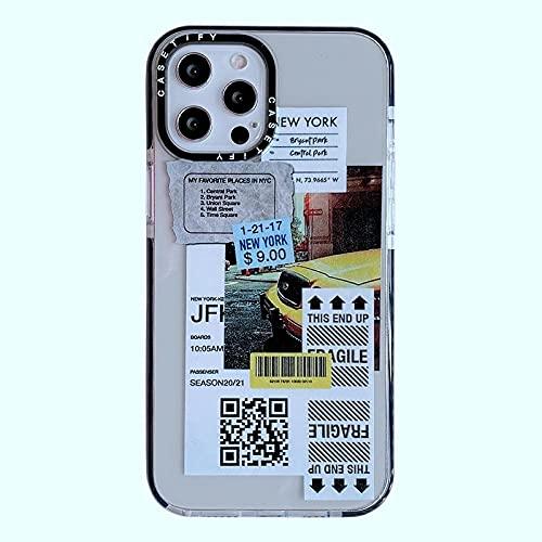 INS Fashion - Funda de Silicona Suave para teléfono con Etiqueta de código de Barras Qr Clear Clear Funda para iPhone 12 Mini 11 Pro XS MAX XR 12Pro SE 2020 7 8 Plus X-For_iPhone_11_New_York