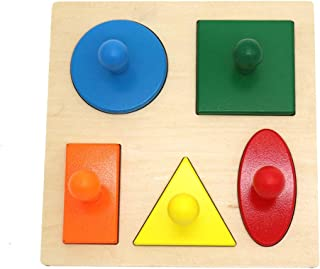 Phoenixb2c Creative Montessori Wood Style Knob Puzzle Toy Peg Board Geometric Shape Match Baby Educational Early Learning Toy Good Gift for Kids B