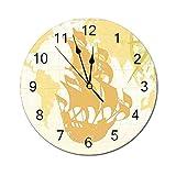 AEMAPE Reloj de Pared Redondo náutico, gráfico Vintage de Doble exposición con Mapa del Viejo Mundo Un Concepto de brújula de velero nostálgico Beige