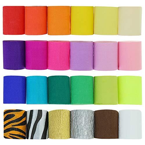 CAVEEN Krepppapier bunt 24 Rollen, Seidenpapier 22 Farben 2 Muster Fluoreszierende Farben Luftschlangen je 10m Länge 5cm Breite Kreppbänder bunt für Deko Papierfalten Basteln Handarbeiten Papierkunst