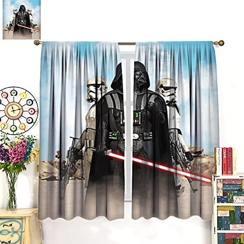 DRAGON VINES Star Wars Darth Vader - Cortinas opacas con aislamiento térmico para dormitorio, con ojales, color rojo