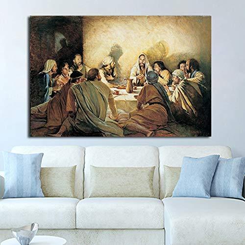 ganlanshu Última Cena por Cuadro En Lienzo Arte Impreso Lienzo Pintura Pared Imagen decoración del hogar para Dormitorio Sala de Estar Carteles,Pintura sin Marco,70x100cm
