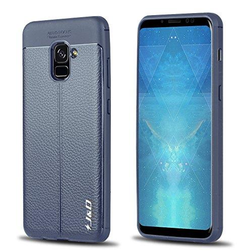 JD Compatible para Galaxy A8 Plus 2018 Funda, [Parachoques Ligero] [Anti-Scratch] [Patrón de Textura de Cuero] Protector de Resistente a Golpes TPU Funda Delgada para Samsung Galaxy A8 Plus 20