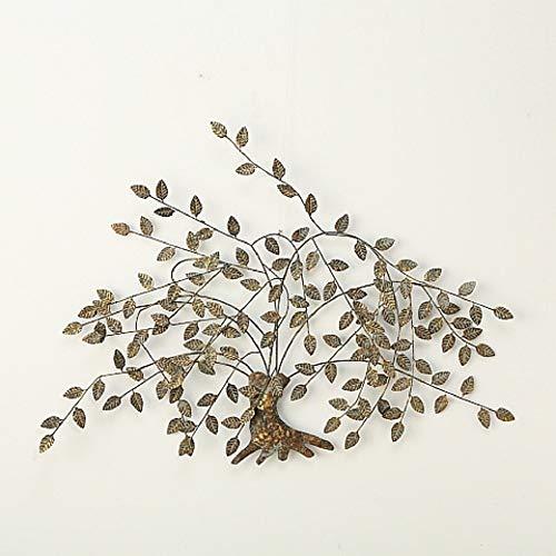 CasaJame Home Collection Metall Wandobjekt Baum grau & Gold, ideale Wanddeko für das Wohnzimmer, B125cm