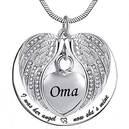 Cenizas Guardar Collar de urnas de alas de ángel para la cremación del corazón de Ash Memorial Souvenirs Unisex Colgante Collar de joyería con Kit de llenado y Caja de Regalo