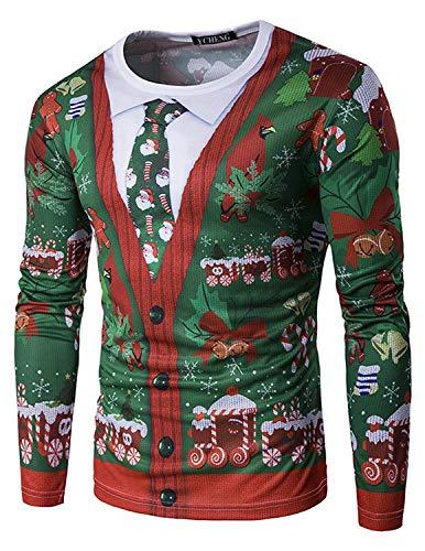 YCHENG Jersey con capucha de Navidad Puentes 3D Impreso de manga larga Camisetas Tops para Hombres verde 1 METRO