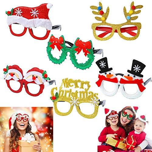 Dusenly Gafas de Navidad de Novedad -  Paquete de 6 Gafas de Fiesta de Navidad Brillo Creativo Gafas Divertidas Disfraces de Vacaciones Suministros de Fiesta Decoración para niños y Adultos