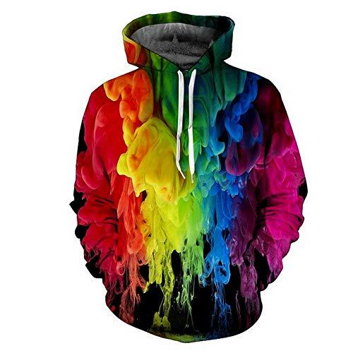 WAZA Herren Übergröße Hoodie Sweatshirt Hoodie Regenbogen Kapuzenpullover Casual Hoodies Sweatshirts Regenbogen Herbst Winter Gr. 3XL