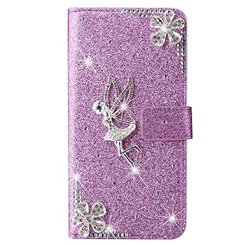 Samsung Galaxy S20 Ultra Case, 3D Handmade Gems Crystal Glitter Plum Angle Girly Wallet Phone Cases Shockproof PU Leather Stand Magnetic Flip Notebook Protective Cover for Samsung Galaxy S20 Ultra