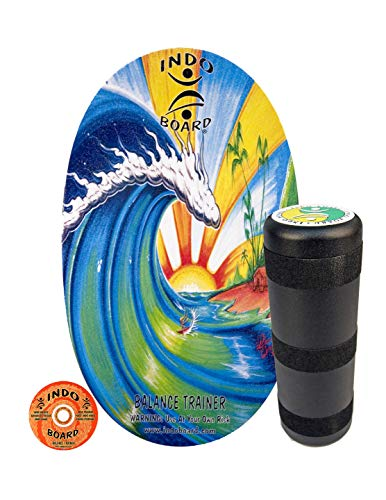 INDO BOARD Original - Bamboo Beach Design - Balance Board for Fun, Fitness and Sports Training - Comes with 30' X 18' Non-Slip Deck and a 6.5' Roller