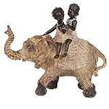 Leekung Elephant Statue Home Decoration,Trunks up Elephant Décor,Child on Back African Elefantes Gift Figurine